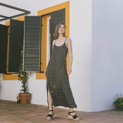 BELLA DRESS - EBONY SAFARI POLKA